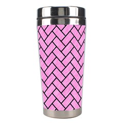 Brick2 Black Marble & Pink Colored Pencil Stainless Steel Travel Tumblers by trendistuff