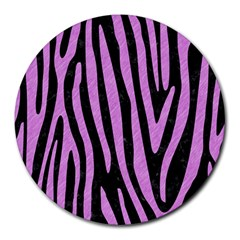 Skin4 Black Marble & Purple Colored Pencil Round Mousepads