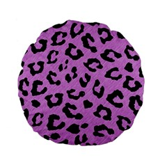 Skin5 Black Marble & Purple Colored Pencil (r) Standard 15  Premium Flano Round Cushions by trendistuff