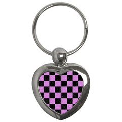 Square1 Black Marble & Purple Colored Pencil Key Chains (heart)  by trendistuff