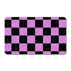 Square1 Black Marble & Purple Colored Pencil Magnet (rectangular) by trendistuff