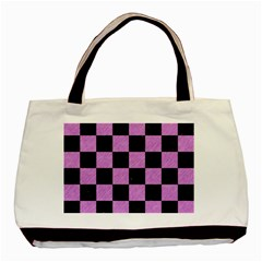 Square1 Black Marble & Purple Colored Pencil Basic Tote Bag by trendistuff