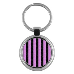 Stripes1 Black Marble & Purple Colored Pencil Key Chains (round)  by trendistuff