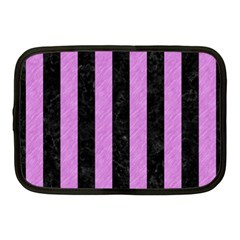 Stripes1 Black Marble & Purple Colored Pencil Netbook Case (medium)
