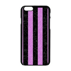 Stripes1 Black Marble & Purple Colored Pencil Apple Iphone 6/6s Black Enamel Case by trendistuff