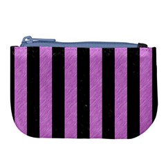 Stripes1 Black Marble & Purple Colored Pencil Large Coin Purse