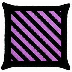 Stripes3 Black Marble & Purple Colored Pencil Throw Pillow Case (black) by trendistuff