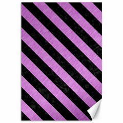 Stripes3 Black Marble & Purple Colored Pencil Canvas 12  X 18   by trendistuff