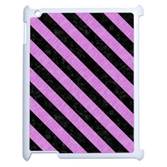 Stripes3 Black Marble & Purple Colored Pencil Apple Ipad 2 Case (white) by trendistuff