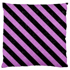 Stripes3 Black Marble & Purple Colored Pencil Large Flano Cushion Case (one Side) by trendistuff