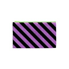 Stripes3 Black Marble & Purple Colored Pencil Cosmetic Bag (xs) by trendistuff