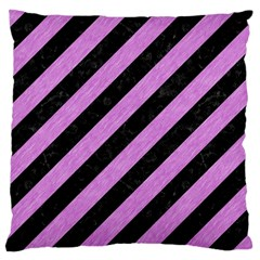 Stripes3 Black Marble & Purple Colored Pencil (r) Large Cushion Case (two Sides) by trendistuff