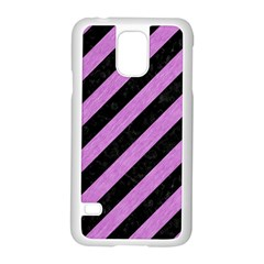 Stripes3 Black Marble & Purple Colored Pencil (r) Samsung Galaxy S5 Case (white) by trendistuff