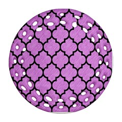 Tile1 Black Marble & Purple Colored Pencil Ornament (round Filigree) by trendistuff