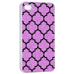 Tile1 Black Marble & Purple Colored Pencil Apple Iphone 4/4s Seamless Case (white) by trendistuff