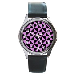 Triangle1 Black Marble & Purple Colored Pencil Round Metal Watch by trendistuff