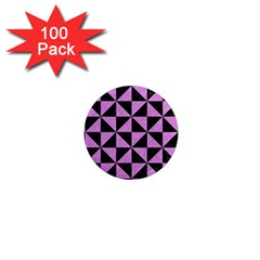 Triangle1 Black Marble & Purple Colored Pencil 1  Mini Magnets (100 Pack)  by trendistuff