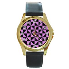 Triangle1 Black Marble & Purple Colored Pencil Round Gold Metal Watch by trendistuff