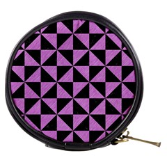 Triangle1 Black Marble & Purple Colored Pencil Mini Makeup Bags