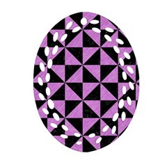 Triangle1 Black Marble & Purple Colored Pencil Oval Filigree Ornament (two Sides)