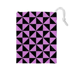 Triangle1 Black Marble & Purple Colored Pencil Drawstring Pouches (large)  by trendistuff