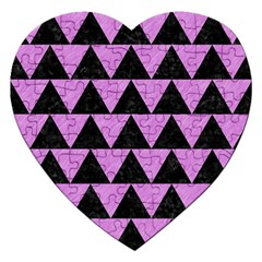 Triangle2 Black Marble & Purple Colored Pencil Jigsaw Puzzle (heart) by trendistuff