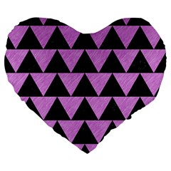 Triangle2 Black Marble & Purple Colored Pencil Large 19  Premium Heart Shape Cushions by trendistuff