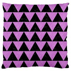Triangle2 Black Marble & Purple Colored Pencil Large Flano Cushion Case (one Side) by trendistuff
