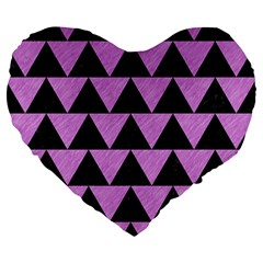 Triangle2 Black Marble & Purple Colored Pencil Large 19  Premium Flano Heart Shape Cushions by trendistuff