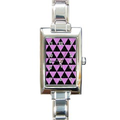 Triangle3 Black Marble & Purple Colored Pencil Rectangle Italian Charm Watch by trendistuff