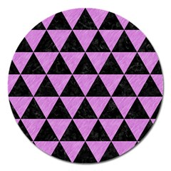 Triangle3 Black Marble & Purple Colored Pencil Magnet 5  (round) by trendistuff