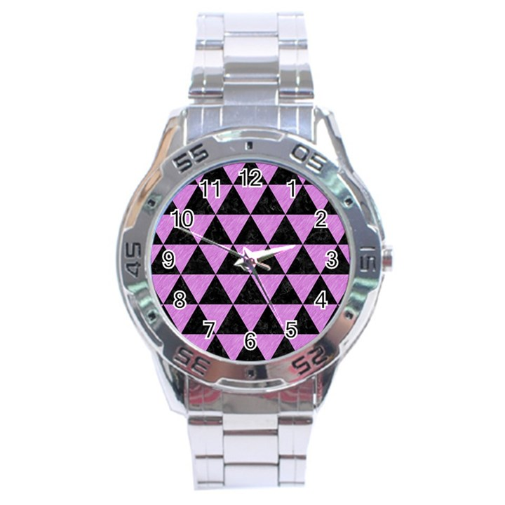 TRIANGLE3 BLACK MARBLE & PURPLE COLORED PENCIL Stainless Steel Analogue Watch