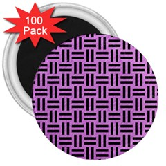 Woven1 Black Marble & Purple Colored Pencil 3  Magnets (100 Pack) by trendistuff
