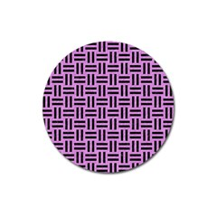 Woven1 Black Marble & Purple Colored Pencil Magnet 3  (round) by trendistuff