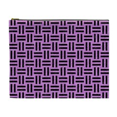 Woven1 Black Marble & Purple Colored Pencil Cosmetic Bag (xl) by trendistuff
