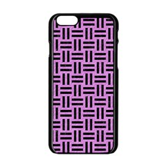 Woven1 Black Marble & Purple Colored Pencil Apple Iphone 6/6s Black Enamel Case by trendistuff