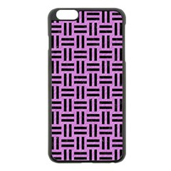 Woven1 Black Marble & Purple Colored Pencil Apple Iphone 6 Plus/6s Plus Black Enamel Case