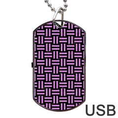 Woven1 Black Marble & Purple Colored Pencil (r) Dog Tag Usb Flash (one Side) by trendistuff