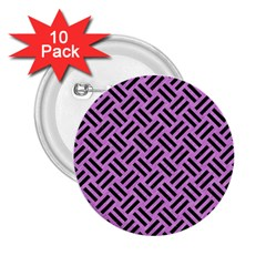 Woven2 Black Marble & Purple Colored Pencil 2 25  Buttons (10 Pack)  by trendistuff