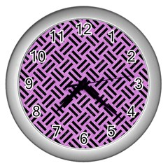 Woven2 Black Marble & Purple Colored Pencil Wall Clocks (silver)  by trendistuff
