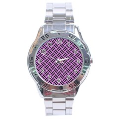 Woven2 Black Marble & Purple Colored Pencil Stainless Steel Analogue Watch