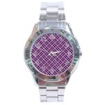 WOVEN2 BLACK MARBLE & PURPLE COLORED PENCIL Stainless Steel Analogue Watch Front