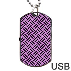 Woven2 Black Marble & Purple Colored Pencil Dog Tag Usb Flash (one Side) by trendistuff