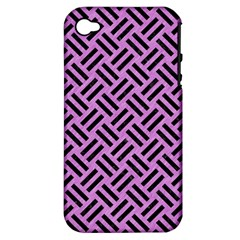Woven2 Black Marble & Purple Colored Pencil Apple Iphone 4/4s Hardshell Case (pc+silicone)