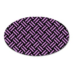 Woven2 Black Marble & Purple Colored Pencil (r) Oval Magnet by trendistuff