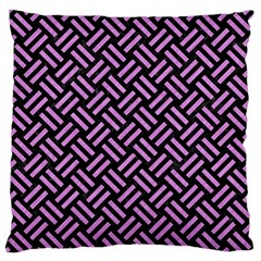 Woven2 Black Marble & Purple Colored Pencil (r) Large Flano Cushion Case (one Side) by trendistuff