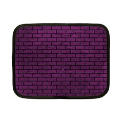 Brick1 Black Marble & Purple Leather Netbook Case (small)  by trendistuff