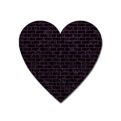 Brick1 Black Marble & Purple Leather (r) Heart Magnet by trendistuff