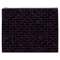 Brick1 Black Marble & Purple Leather (r) Cosmetic Bag (xxxl)  by trendistuff