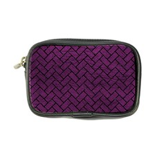 Brick2 Black Marble & Purple Leather Coin Purse by trendistuff